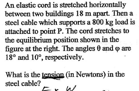 Physics stretch & tension word problem TI-89